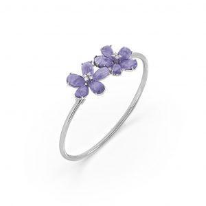 Tanzanite and Diamond Floral Bracelet