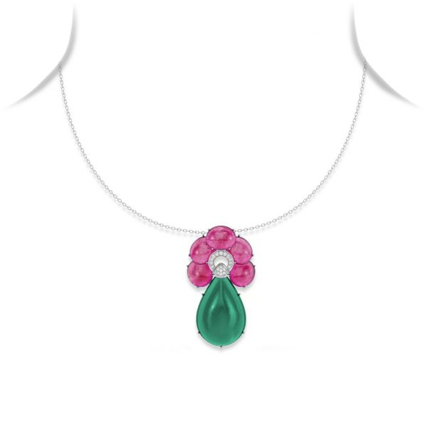 Ruby, Diamond and Chalcedony Drop Pendant Necklace