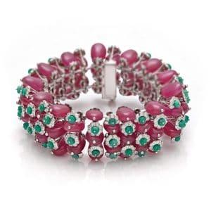 Emerald Ruby & Diamond Bead Bracelet