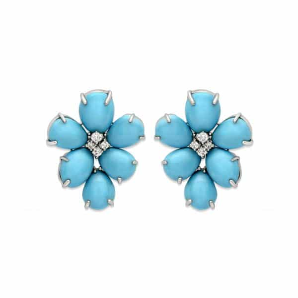 Turquoise and Diamond Floral Stud Earrings