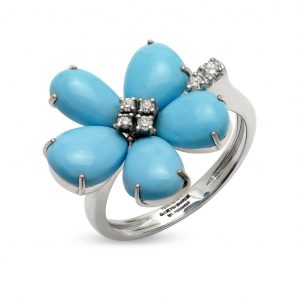 Turquoise and Diamond Floral Ring