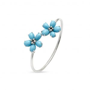 Turquoise and Diamond Floral Bracelet
