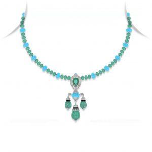 Turquoise Emerald Drop Pendant Necklace