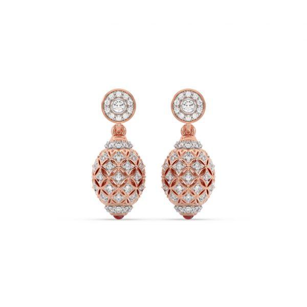 Diamond & Ruby Filigree Hanging Earrings