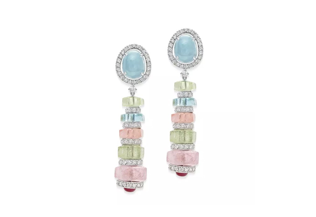 Ruby & Diamond Pastello Di Aqua Earrings