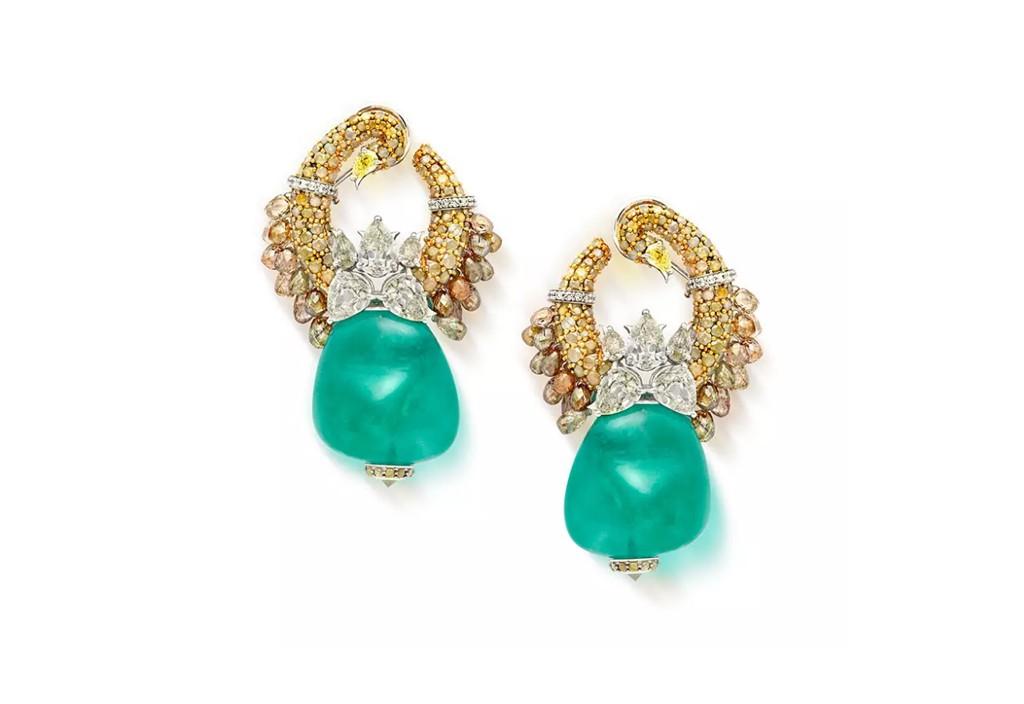 Emerald Diamond Mewar Hansli Earrings