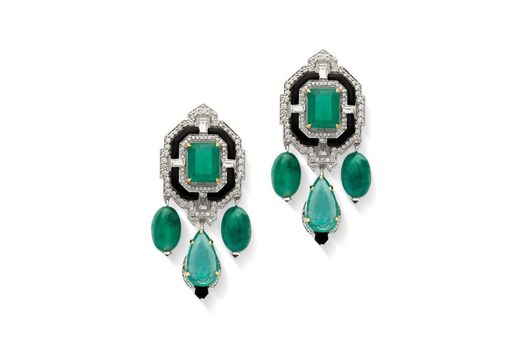 Art Deco Emerald & Black Onyx Diamond Earrings