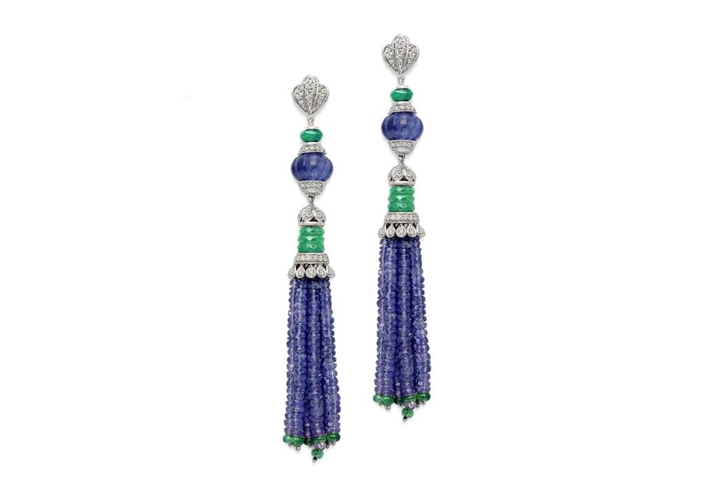 Chalcedony Tanzanite Tassel Earrings