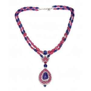 Art Deco Ruby Tanzanite Pendant Necklace