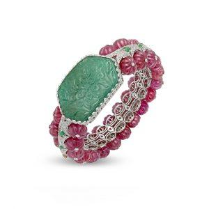 Carved Emerald & Ruby Bala Bracelet