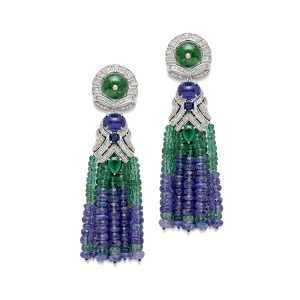 Emerald & Tanzanite Tassel Earrings