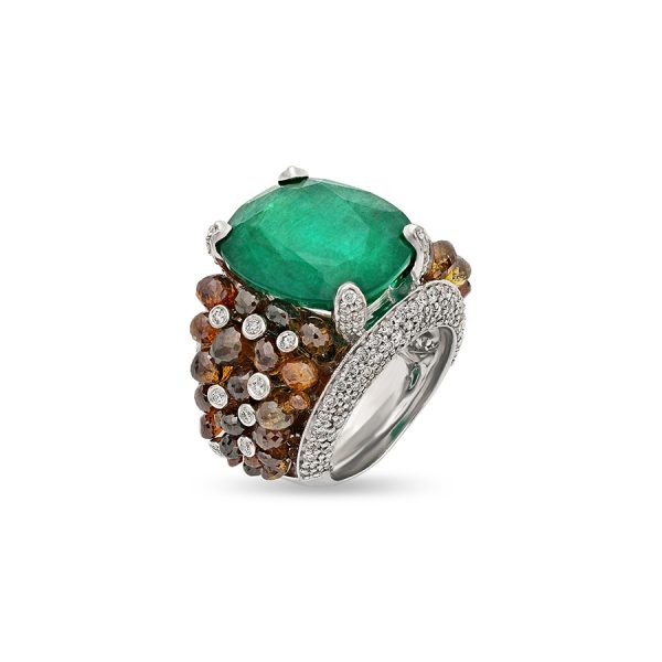 Emerald and Brown Diamond Cocktail Ring