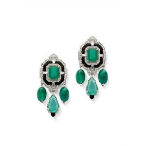 Art Deco Emerald & Black Onyx Earrings