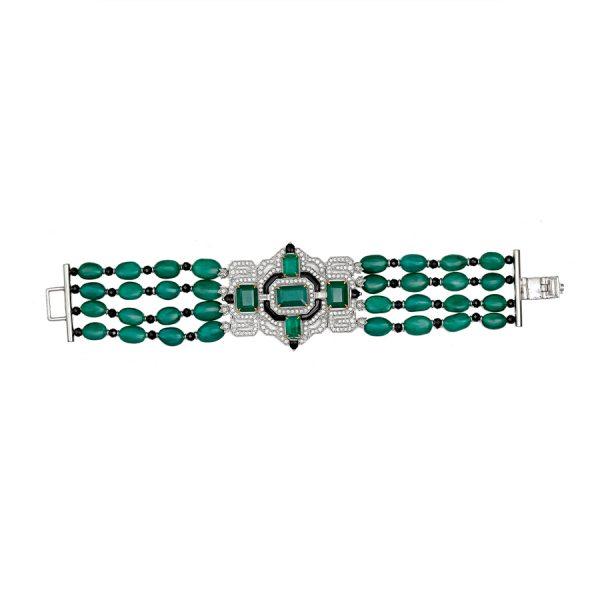Art Deco Emerald & Black Onyx Bracelet