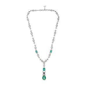 Art Deco Emerald Diamond Pendant Necklace