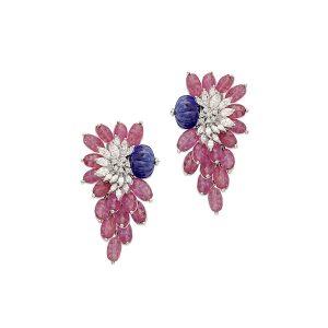 Ruby & Tanzanite Burst Earrings