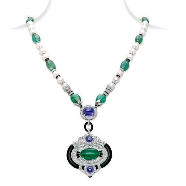 Emerald Tanzanite Art Deco Pendant