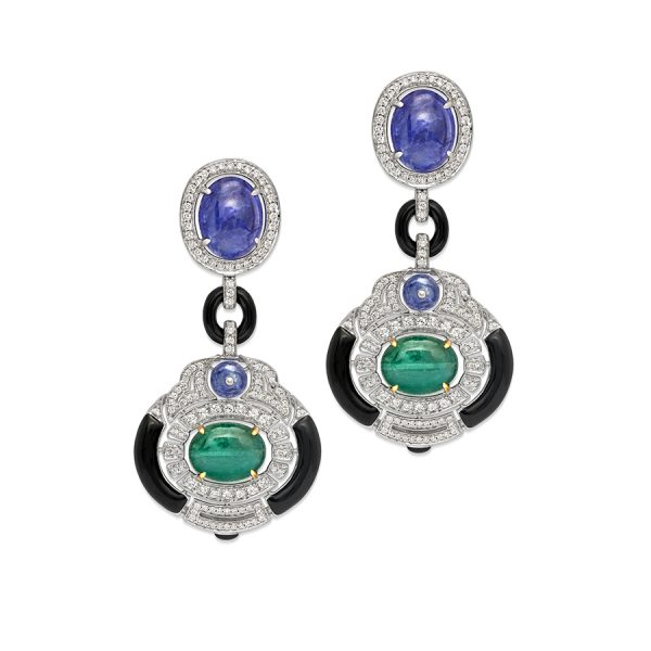 Emerald Tanzanite Art Deco Earrings