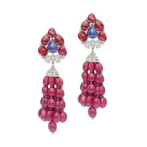 Ruby Tanzanite Tassel Earrings