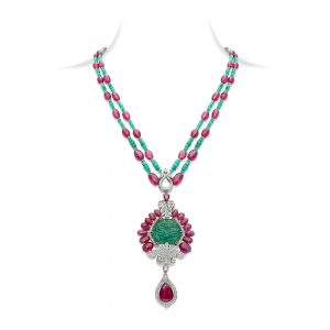 Carved Emerald & Ruby Pendant Necklace