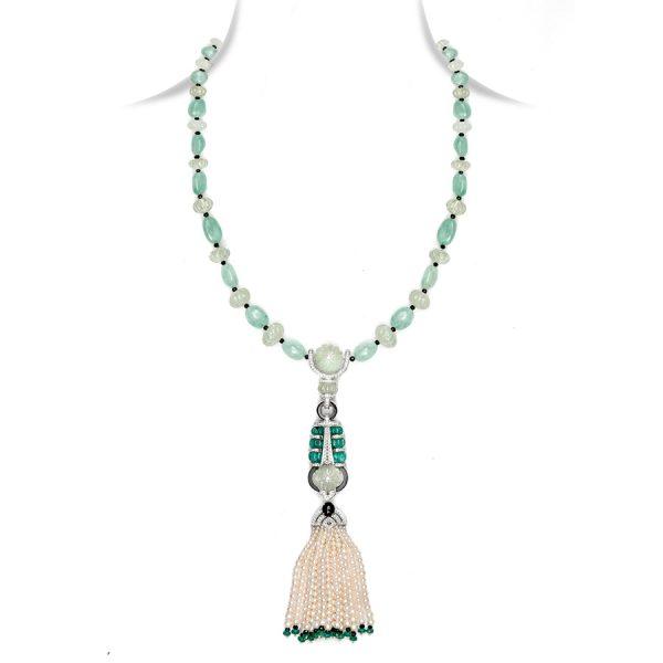 Emerald & Pearl Art Deco Sautoir Necklace