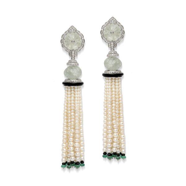 Emerald & Pearl Art Deco Tassel Earrings
