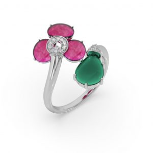 Ruby and Green Onyx Drop Ring