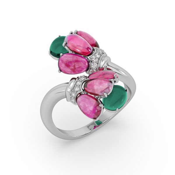 Ruby and Green Onyx Bloom Ring