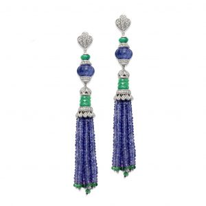 Chalcedony Tanzanite Tassel Earrings