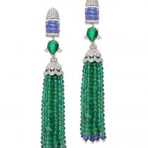 Tanzanite Emerald Tassel Earrings
