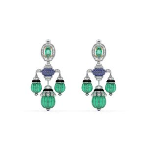 Tanzanite Emerald Drop Earrings