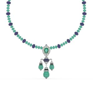 Tanzanite Emerald Drop Pendant