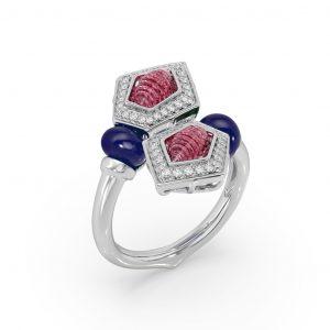 Ruby Tanzanite Prism Ring
