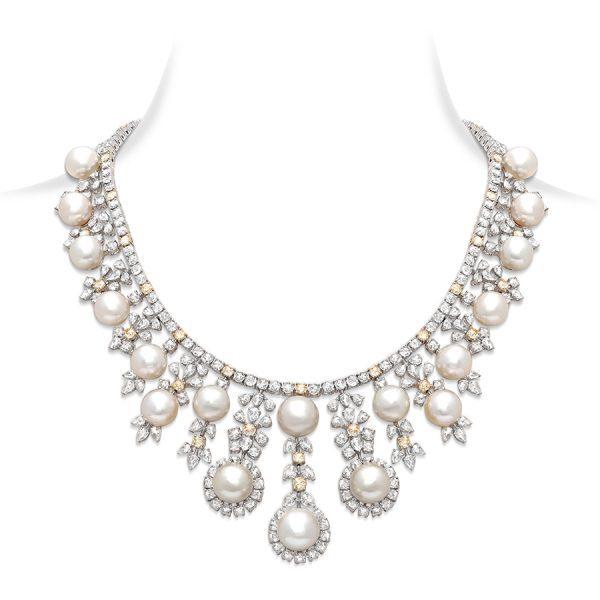 Classic Diamond & Pearl Bridal Necklace