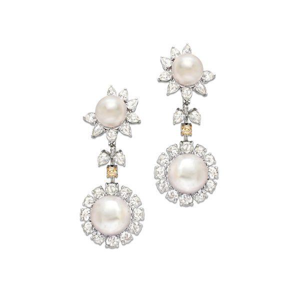 Classic Diamond & Pearl Bridal Earrings