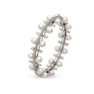 Pearl and Yellow Diamond Bangles
