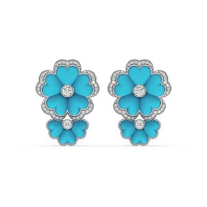 Turquoise and Diamond Floral Hanging Earrings