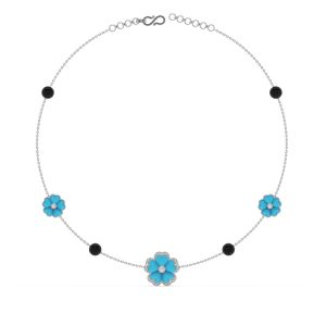 Turquoise and Diamond Floral Sautoir