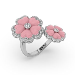 Pink Opal and Diamond Floral Ring