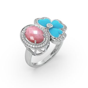 Pink Opal and Turquoise Drop Ring