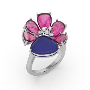 Ruby and Tanzanite Drop Ring