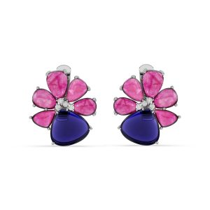 Ruby and Tanzanite Drop Earrings