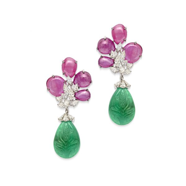 Carved Emerald & Pink Sapphire Earrings