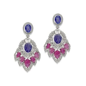 Carved Ruby & Tanzanite Earring