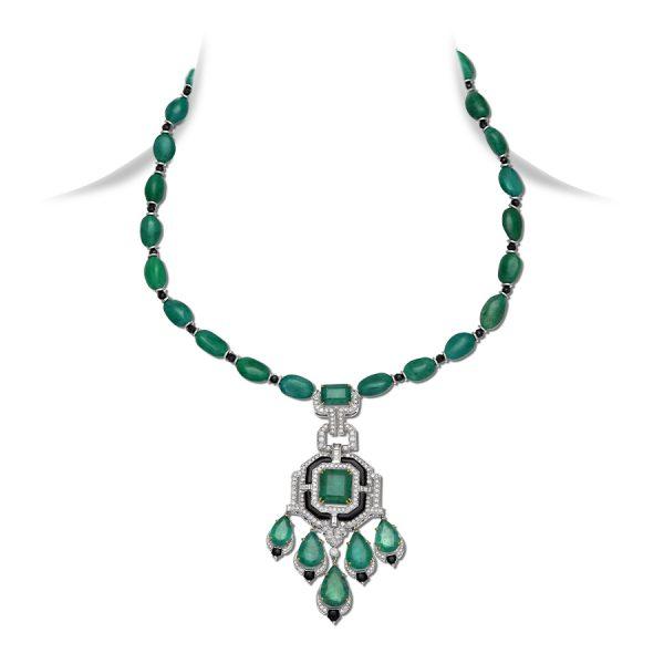 Art Deco Emerald & Black Onyx Pendant Necklace