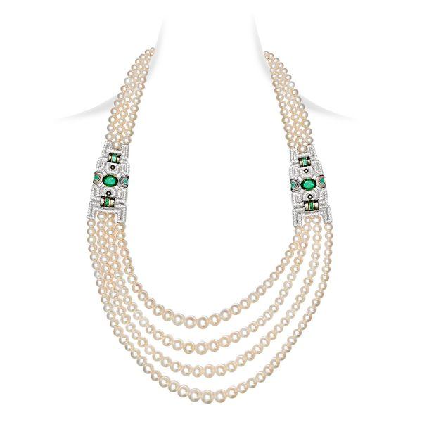Art Deco Pearl Emerald Necklace