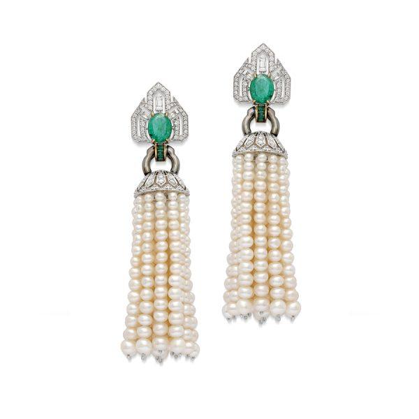 Art Deco Pearl Emerald Tassel Earrings