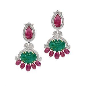 Carved Emerald & Ruby Earrings
