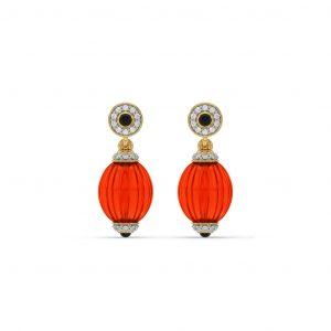 Coral Diamond Hanging Earrings